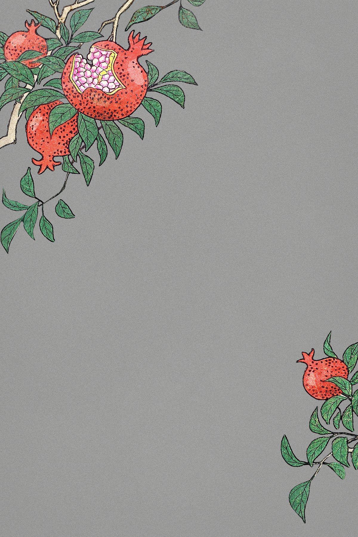 Pomegranate border frame design element | free image by ...