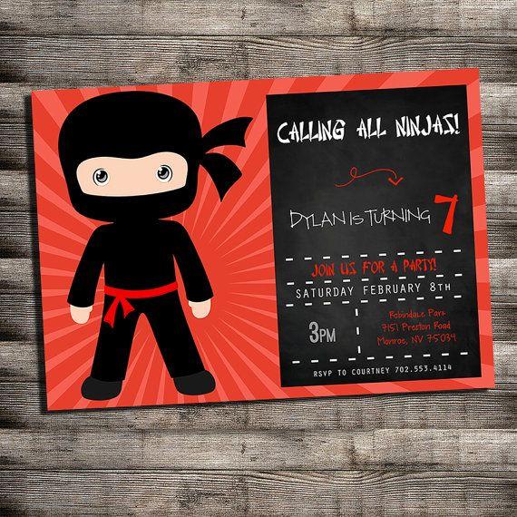 Ninja Birthday Party Invitations Printable Modern Ninja