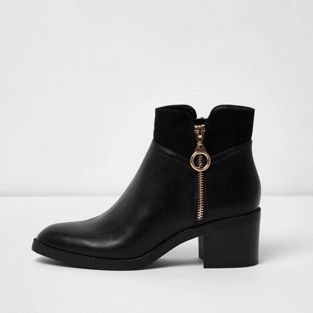River Island Womens faux leather block heel shoe boots vK5FyX5