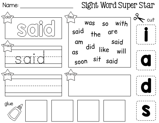 This Is A Worksheet For Learning The Sight Word Said Students Will Practice Reading Spelli Sight Words Kindergarten Sight Word Worksheets Sight Word Practice