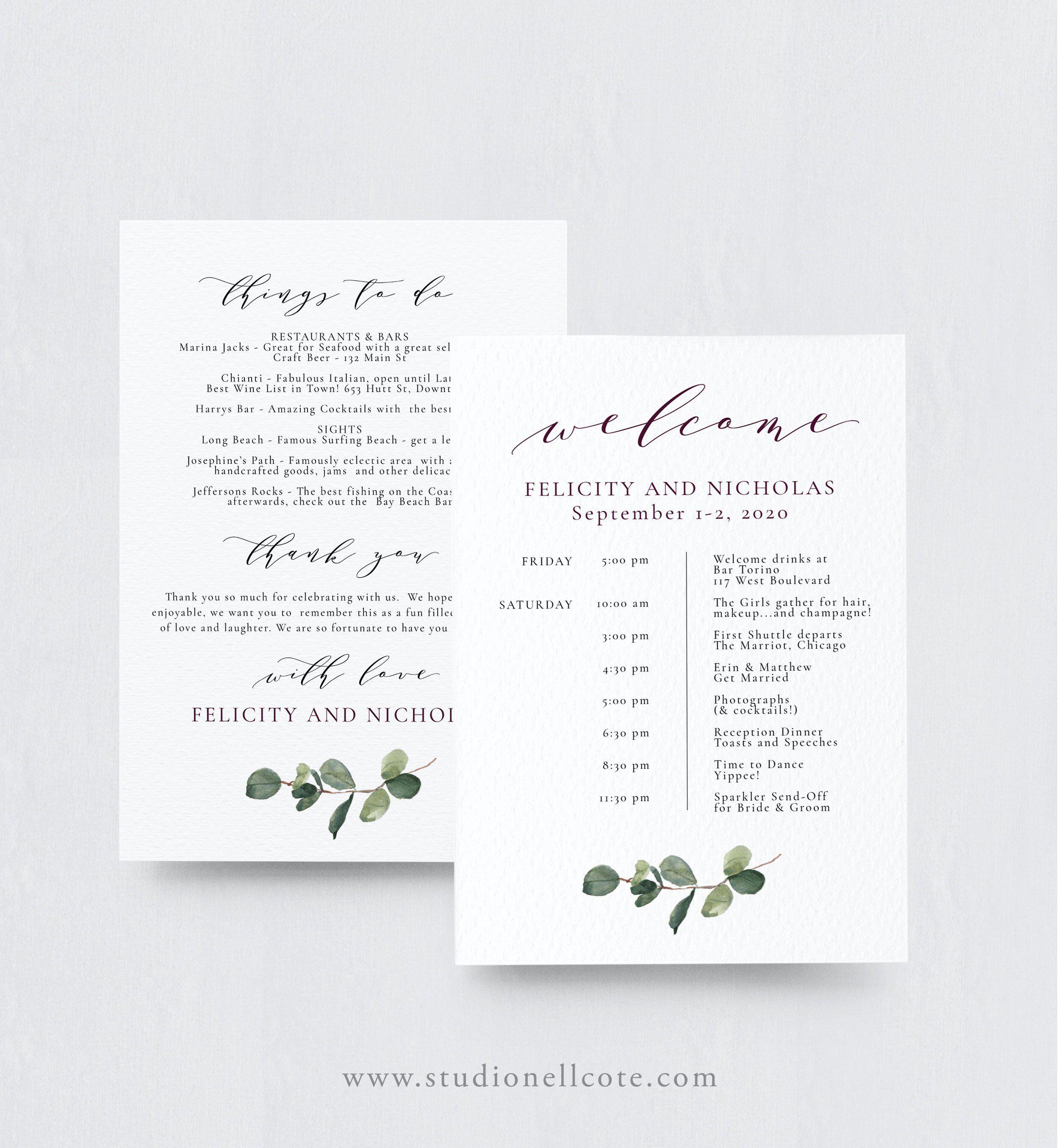 Eucalyptus Wedding Itinerary Itinerary For Guests Wedding Etsy Wedding Itinerary Wedding Itinerary Template Wedding Agenda