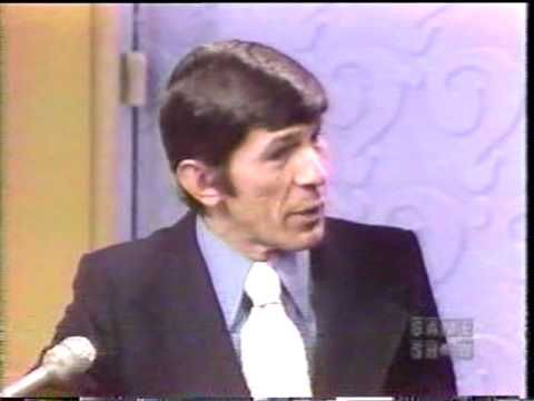 Leonard Nimoy on Whats My Line? - YouTube   After the panel figures out his identity, he spends a couple of minutes chatting with the host on varied topics including a bit about his interest in science fiction.