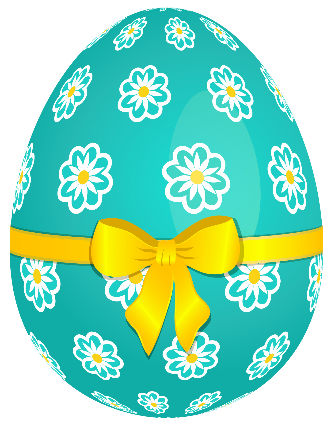 sky blue easter egg with flowers and yellow bow png picture
