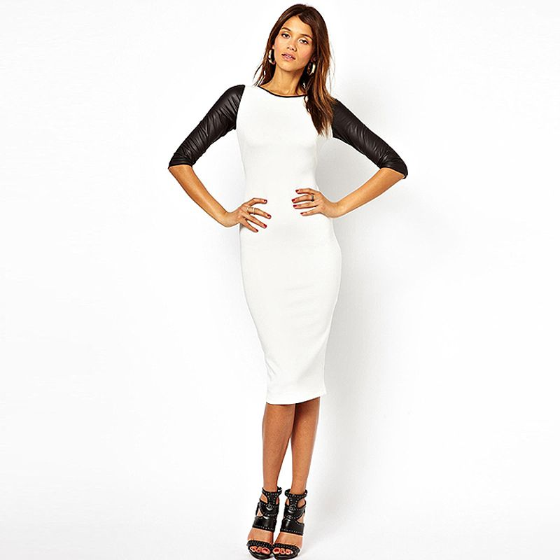 2014 NEW DRESS spring women's leather patchwork black and white color block half sleeve tight slim hip slim sexy one piece dress-in Dresses from Apparel & Accessories on Aliexpress.com | Alibaba Group