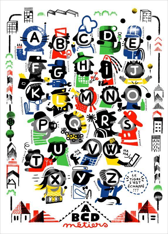 Retro Alphabet Poster For Children