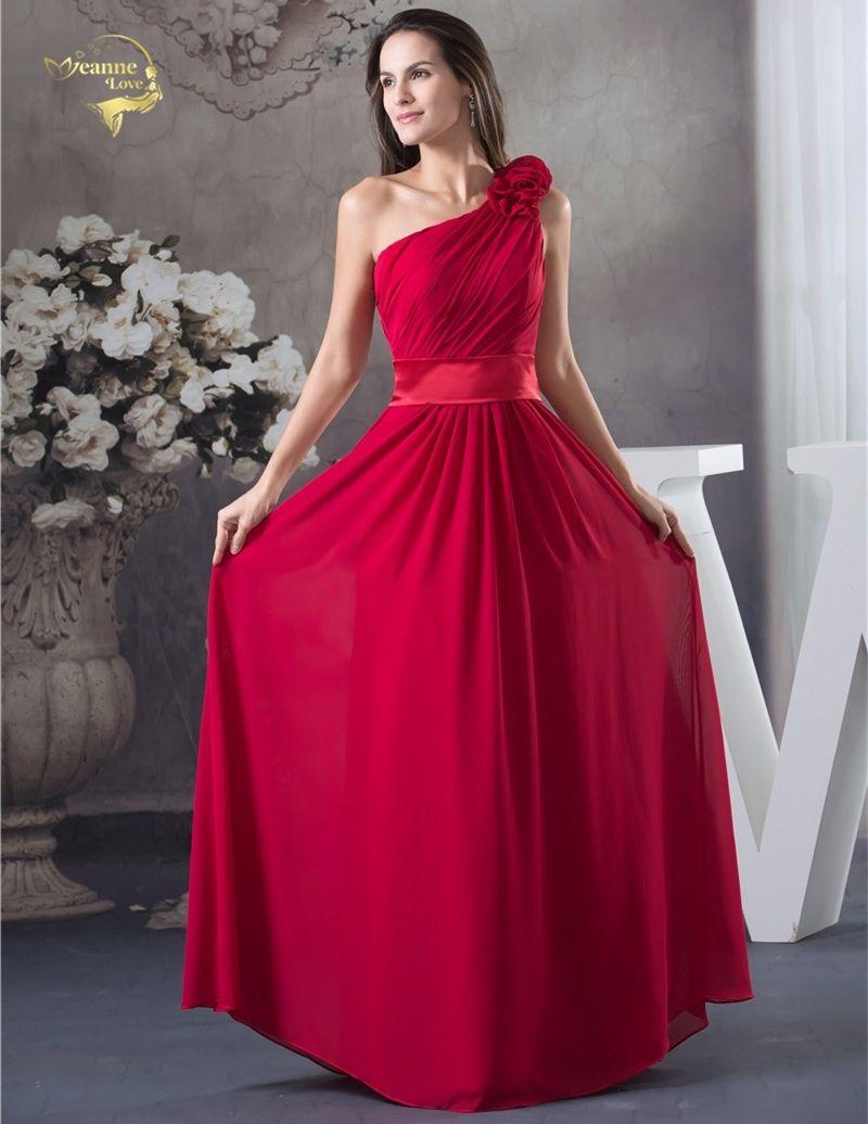 2017 New Design Vestido De Festa Chiffon Red Zipper Back One Shoulder Formal  Long Evening Dresses 28b6613c5e9a