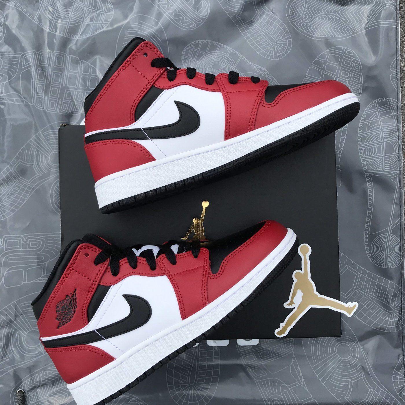 Jordan 1 Mid Chicago Black Toe Jordan Shoes Girls Jordan 1 Mid Air Jordans Women