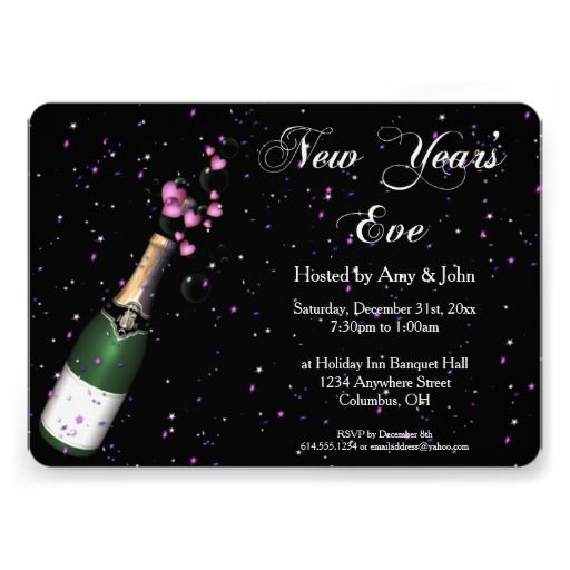 new years eve party invitation champagne bottle 2