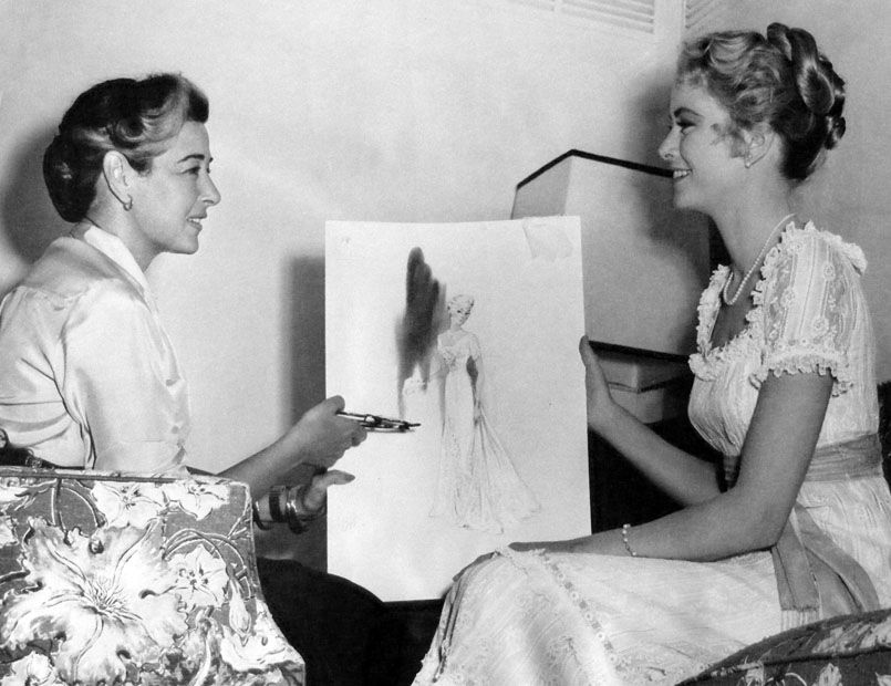 With Helen Rose, costume designer for THE SWAN (1956).