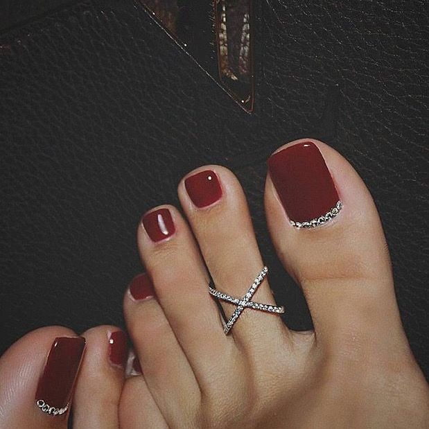 Dark Red Pedi Pretty Toe Nails Wedding Toe Nails Toe Nails