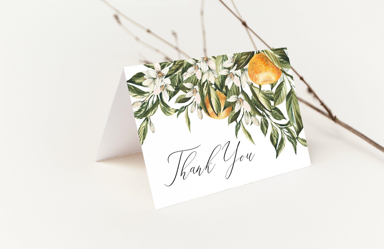 Editable Thank You Card Template Citrus Wedding Thank You