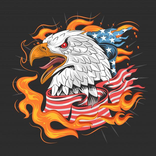 EAGLE USA AMERICA HEAD ARTWORK Eagle usa flag fire  Premium Vector