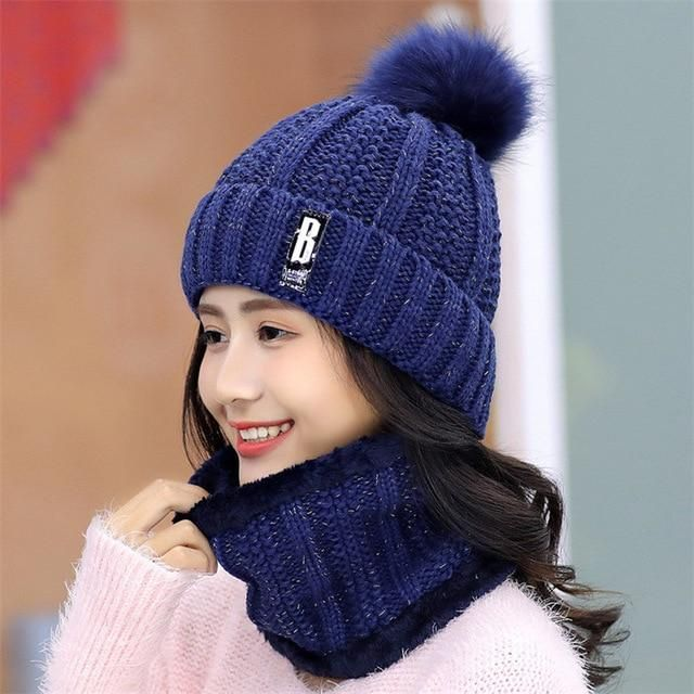 Brand Winter knitted Beanies Hats Women Thick Warm Beanie Skullies Hat Female knit Letter Bonnet Beanie Caps Outdoor Riding Sets #beaniehats