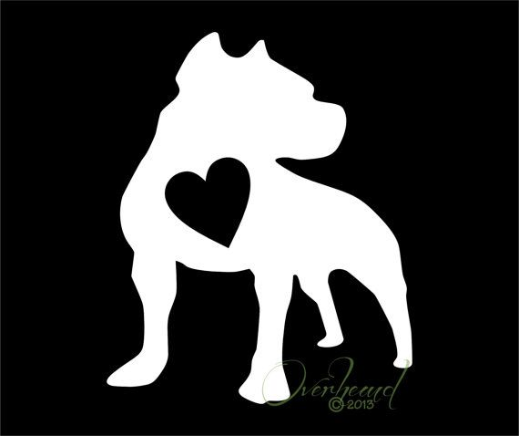 Pit Bull with Heart Window Vinyl Car Decal Dog Laptop Sticker
