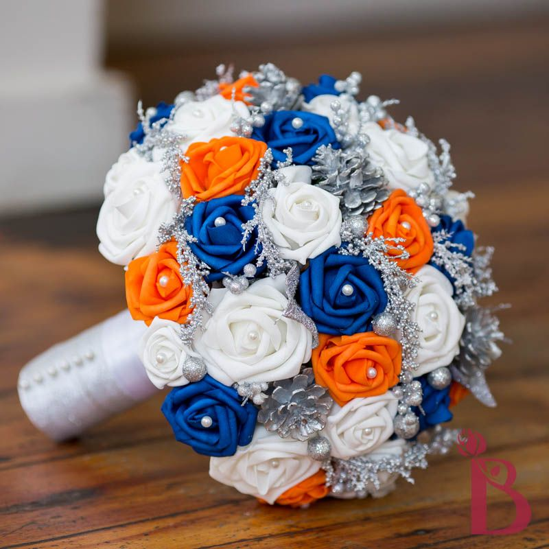 Royal Blue And Orange Roses Gerbera Daisies Bouquet Blue Wedding