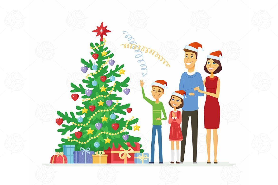 Family Celebrates Christmas Vector Illustration By Boykopictures On Envato Elements Christmas Vectors Christmas Drawing Tree Drawing