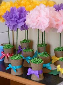 Tissue flowers cute but i would also use the pots to hold a tissue paper flower poteasy and cheap flower centerpiece mightylinksfo