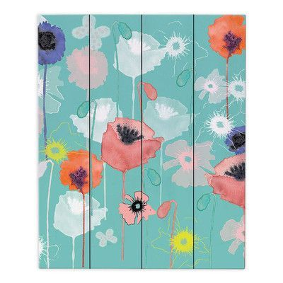DiaNocheDesigns Poppies Run by Julie Ansbro Painting Print Plaque Size: 2