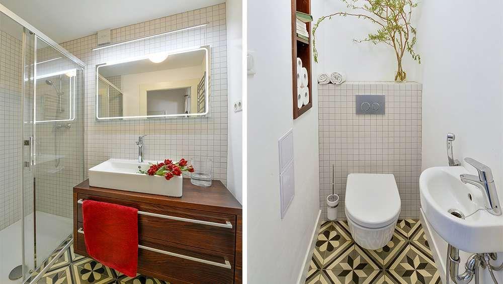 salle de bains toilette retro carreaux de ceramique Salle de bains