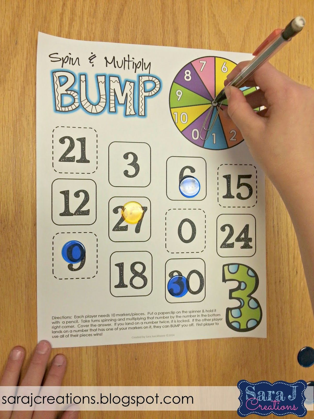 Reviewing multiplication during tutoring.  Spin and Multiply Bump.  Practice multiplying numbers up to 10x10.  Different game boards for numbers 1-10.  Just add a paperclip and pencil to use as a spinner and you are ready to go!  Directions included.  Includes color and black and white versions.