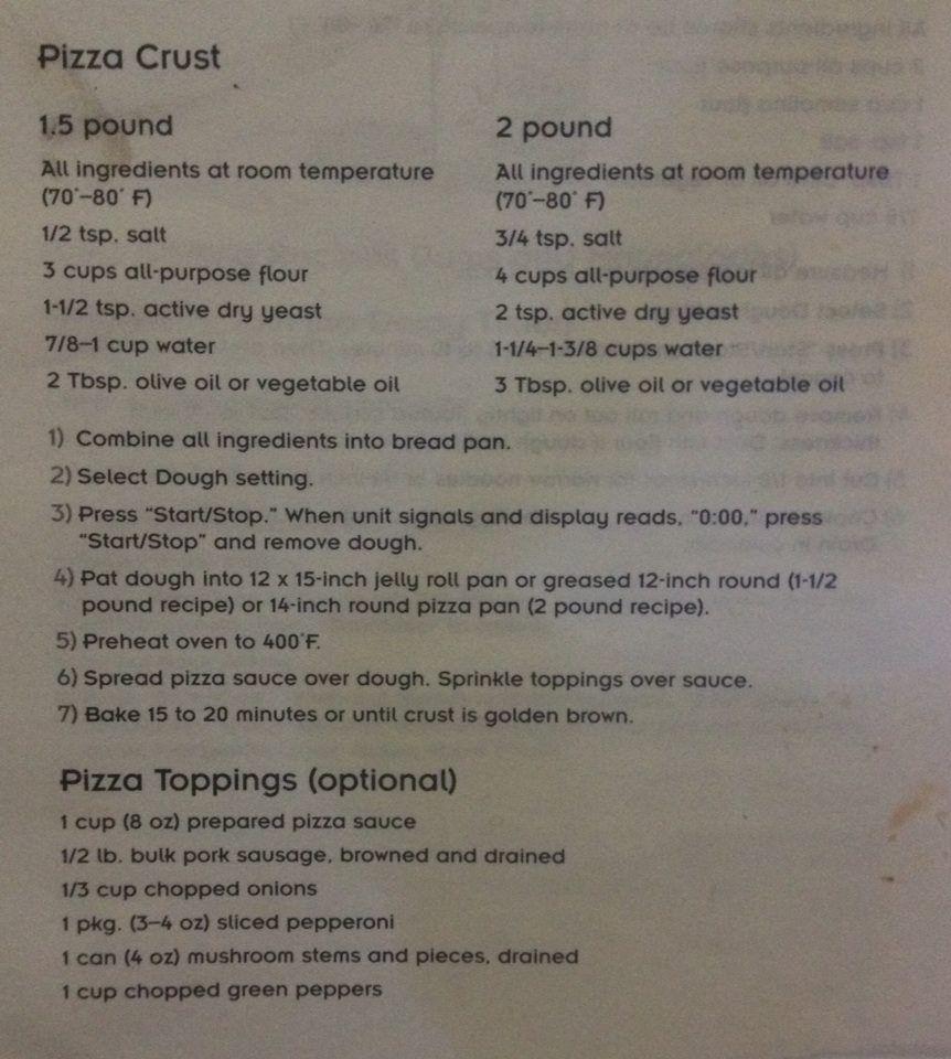 Oster Breadmaker Pizza Dough Recipe Pizza Recipes Dough