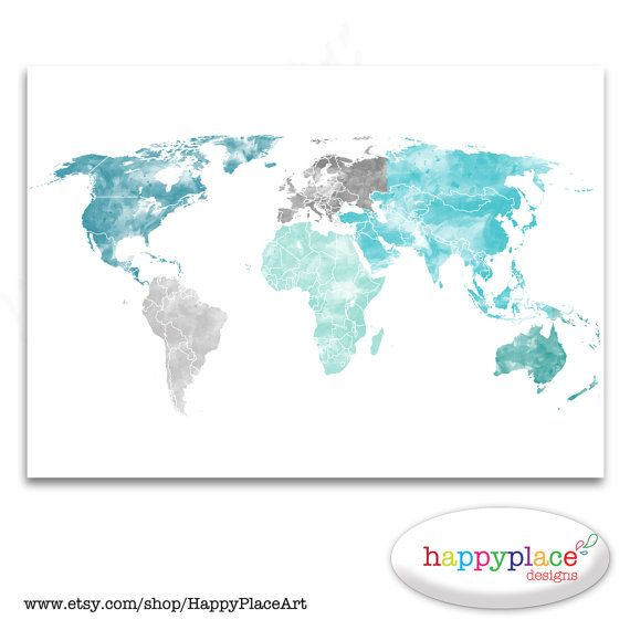 Large world map print aqua turquoise and green watercolor map lovely soft watercolour map to suit decor use the soft turquoise and grey colour combination or choose your own custom colours looking for custom gumiabroncs Gallery