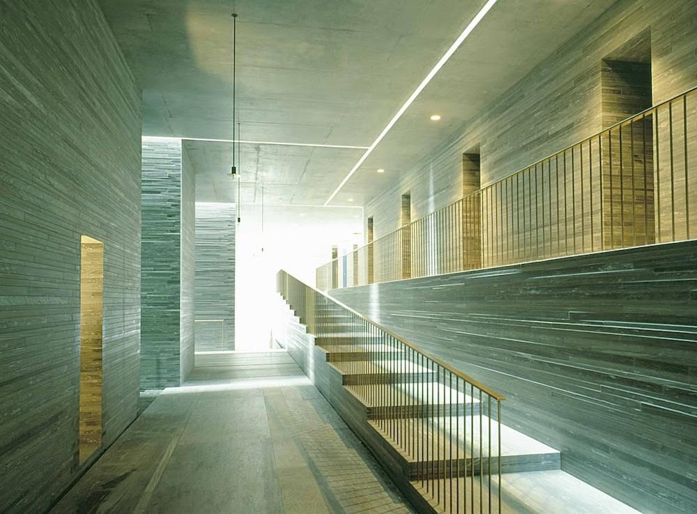 Corridor in Therme Vals by Peter Zumthor The surfaces of