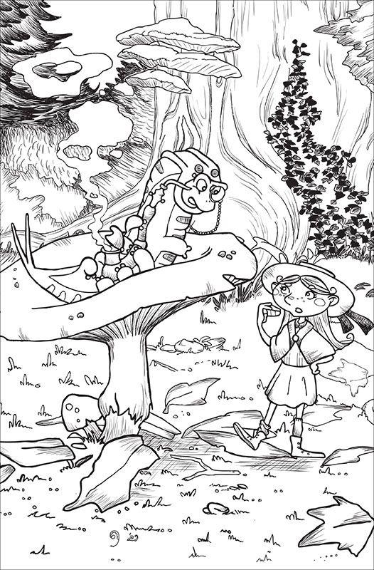 """Illustrazione in bianco e nero per """"Alice nel paese delle meraviglie"""". Il Brucaliffo. Black and White illustration for """"Alice in Wonderland""""."""
