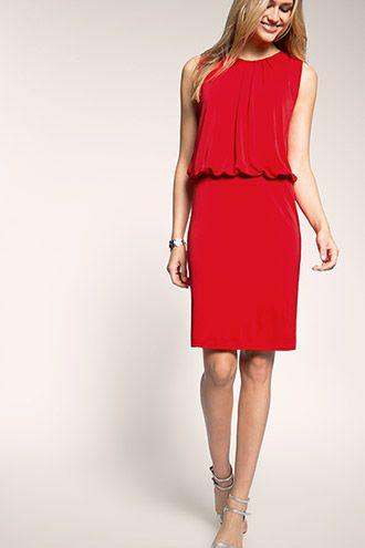 3c472ef1ebf64f Esprit - Jersey stretchjurk met drapering kopen in de online shop Rode  Jurk
