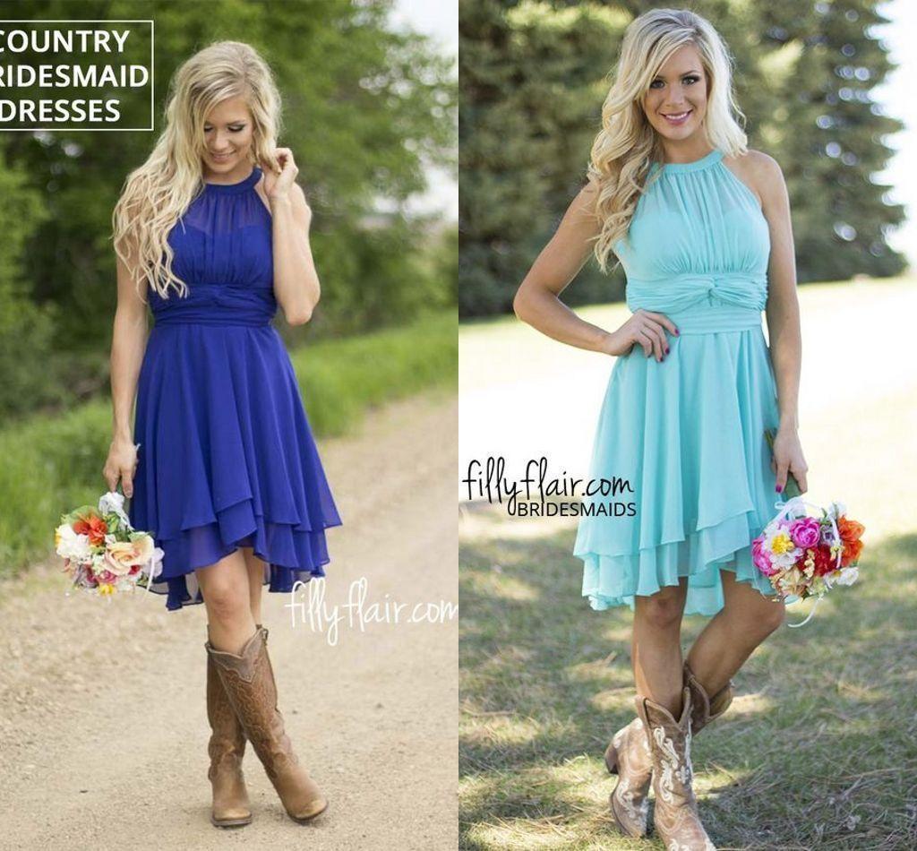 2016 Blue Short Chiffon Bridesmaid Dresses Rustic Halter