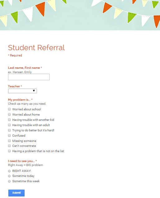 Counseling Referrals  Google Form For Students TeachersStaff