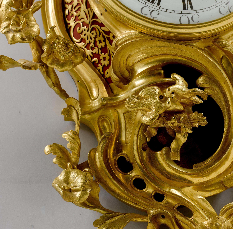 C Large Cartel Clock Aux Colombes D Amour Louis Xv