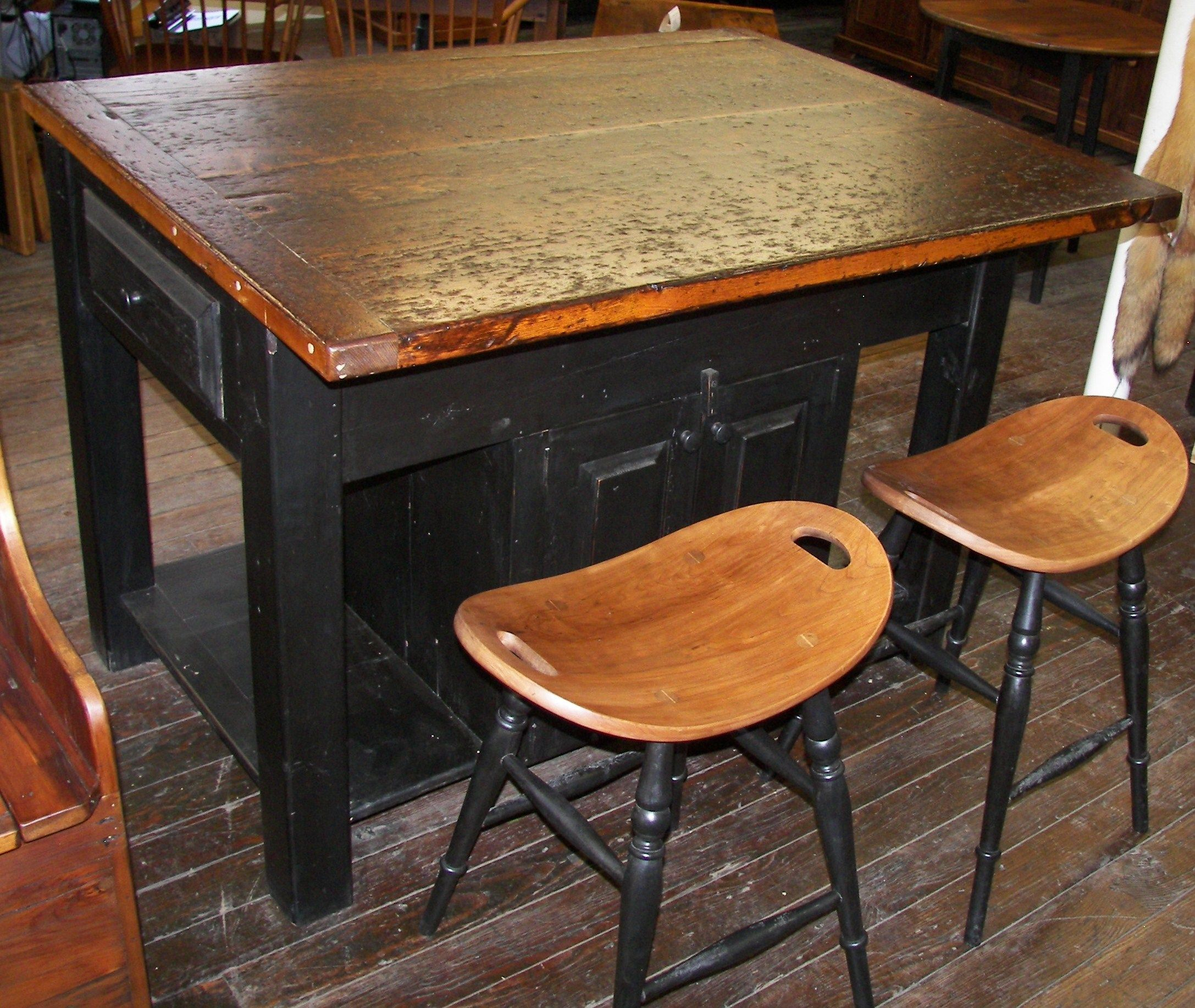 Reclaimed Barn Wood Furniture   Barn Wood Kitchen Island With Saddle Stools    Www.braunfarmtables