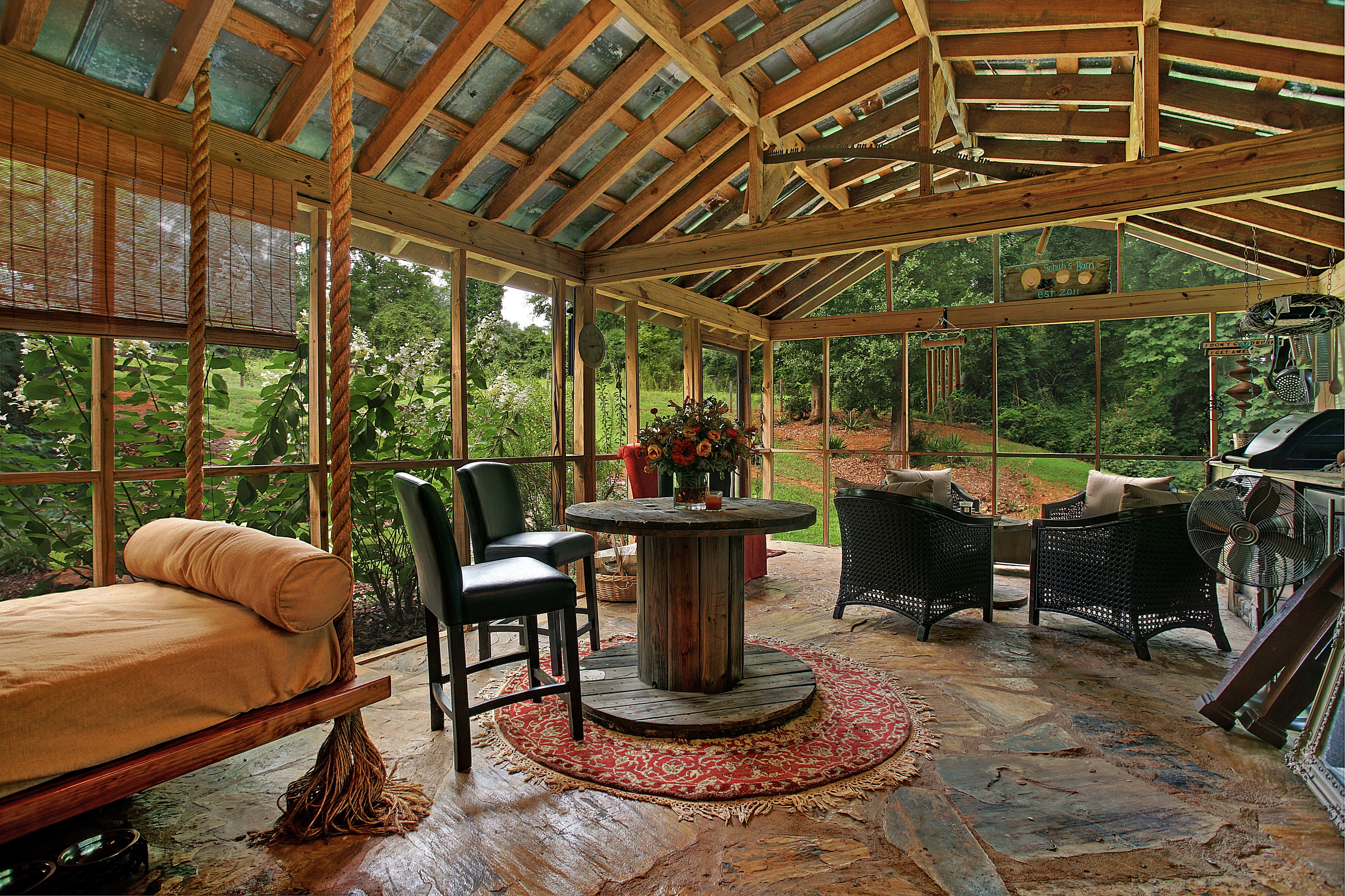 country outdoor kitchen Finally, the screened porch and