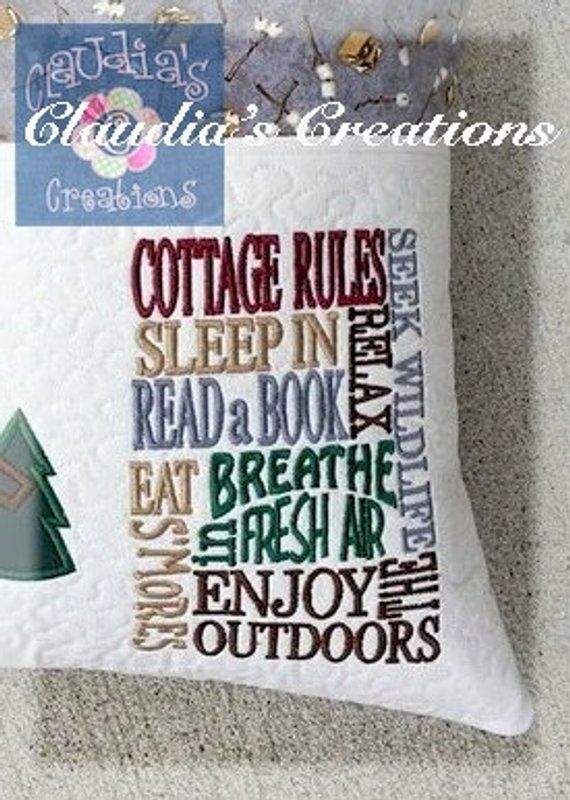 Cottage Rules 2 Embroidery Saying, Sleep in, Read a Book, Enjoy the Outdoors Reading Pillow Embroidery Saying, Pocket Pillow Verse