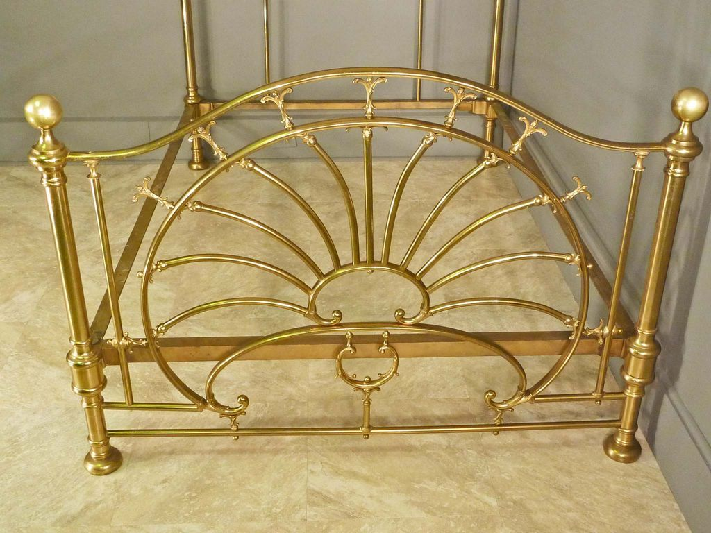 art nouveau brass bed frame