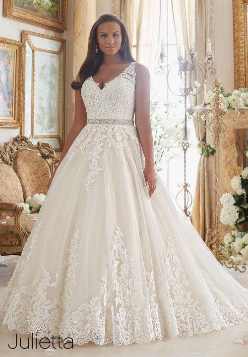 Wedding Dress Lace Lace applique on tulle plus size Mori Lee ...