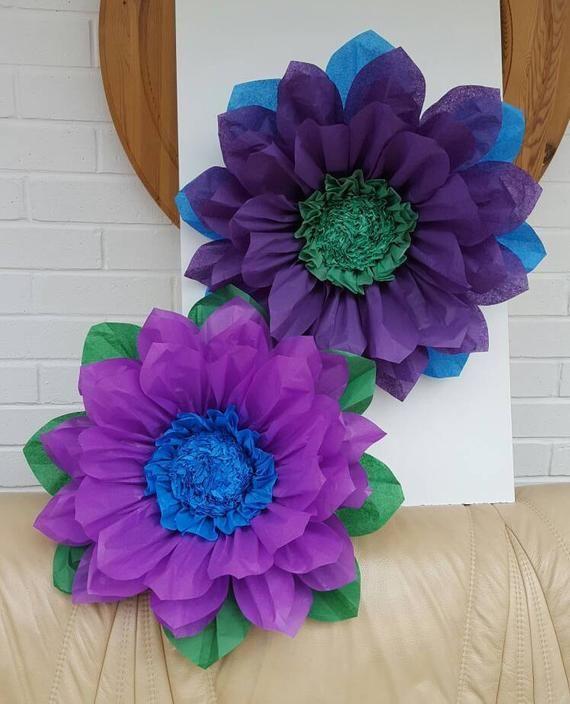 Pompom large 45cm purple peacock tissue paper flower wedding decoration party centerpiece birthday peacock #paperflowercenterpieces