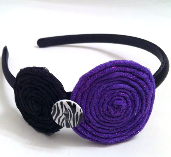 Girl's Headband with Black Ribbon and by LaurensLovelyDesigns, $12.00