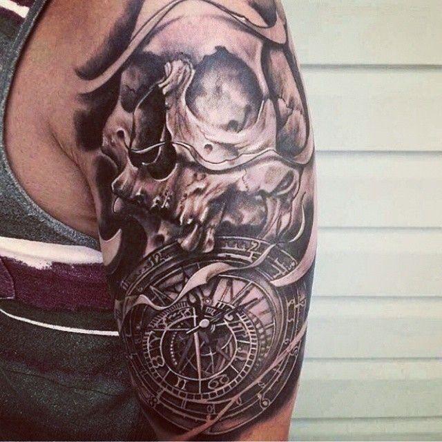 Skull Clock Tattoos Google Search Clock Tattoo Tattoos Arm Tattoo
