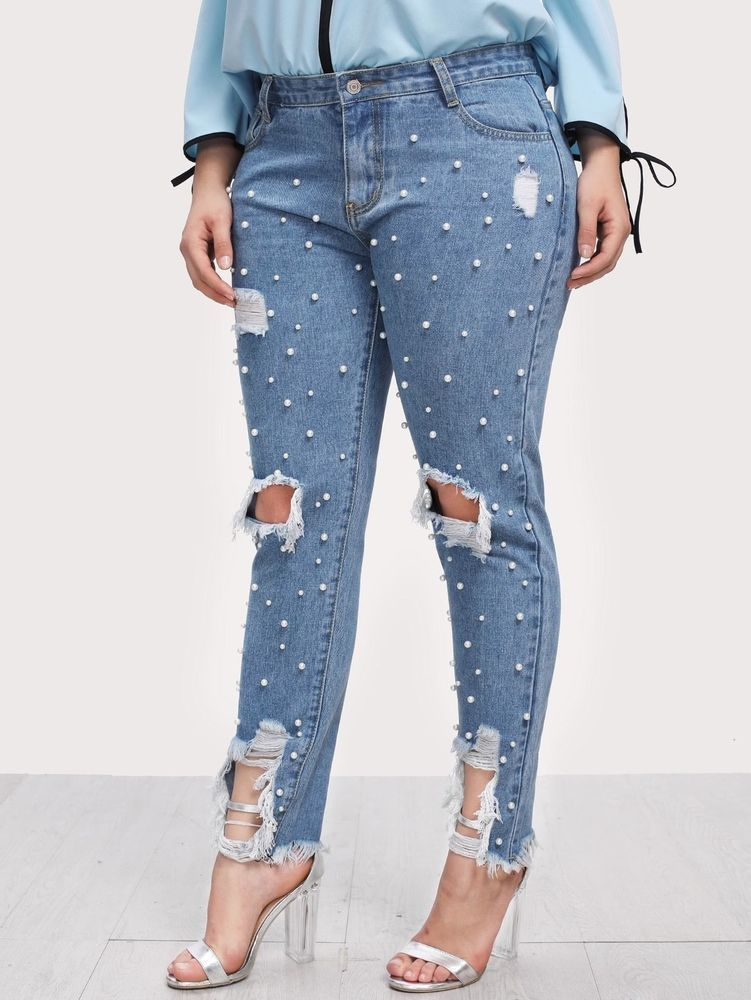 46ba60728f9 Plus Pearl Embellished Ripped Raw Hem Jeans  fashion  clothing  shoes   accessories  womensclothing  jeans (ebay link)