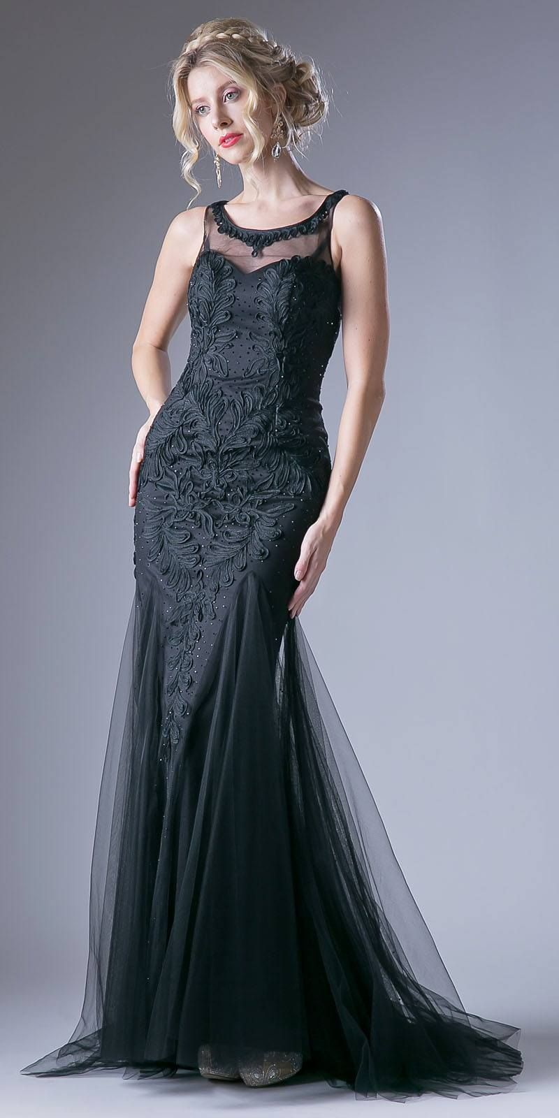 Black Illusion Sweetheart Neckline Cut Out Back Evening Gown ...