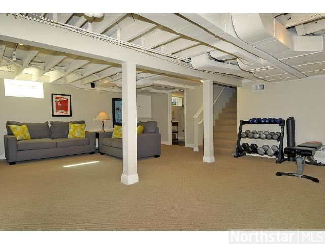 Open Ceiling Painted White Basement Remodeling Low Ceiling