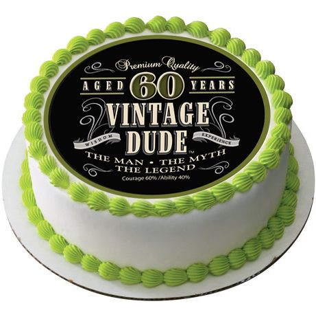 Vintage Dude 60th Green Edible Birthday Cake Topper