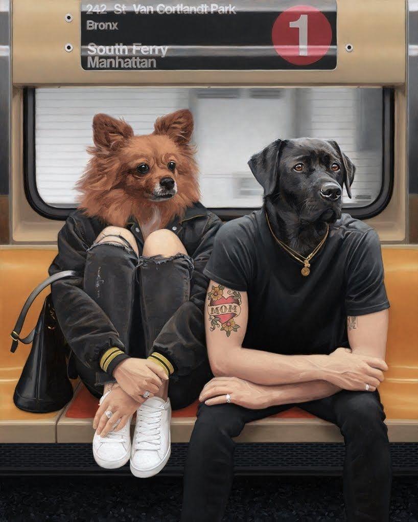 Fractal Ea Magazine Un Paseo Salvaje Dentro Del Metro De La Ciudad De Nueva York En Las Pinturas De Matthew Grabelsky Pintura Surrealista Animales Cabezas De Animales