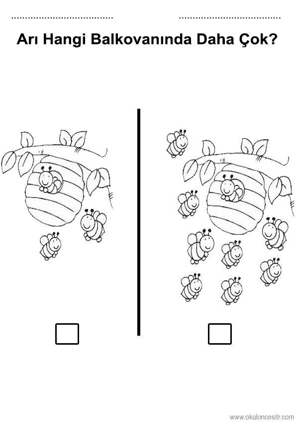 Az Cok Calisma Sayfasi Ari Worksheets Preschool Worksheets Ve