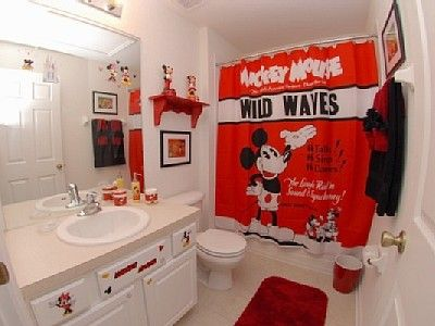 Red Bathroom Decorating Ideas With Mickey Mouse Theme And Cute ...