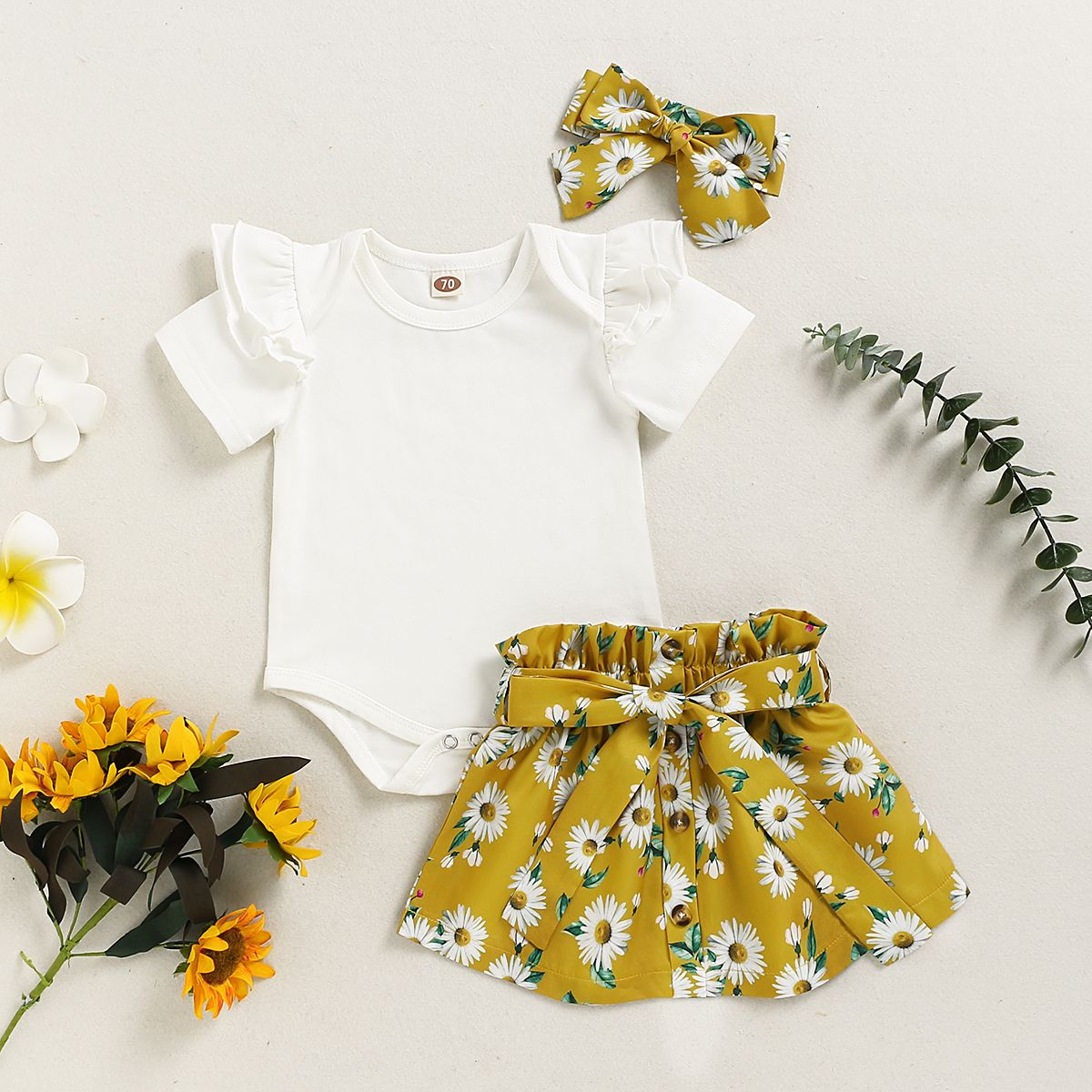 3Pcs Newborn Baby Girl Floral Dress Clothes Ruffle Romper Tops Skirt Outfits Set