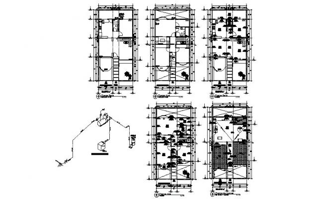 House framing plan, floor plan and electrical details dwg
