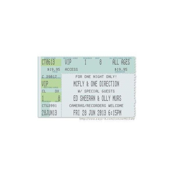 Concert Ticket Maker ❤ liked on Polyvore featuring one direction - concert ticket maker
